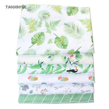 TIANXINYUE flamingos fabric green leaf fabric Printed cotton fabric for quilting patchwork tecido tela clothing bedding tissus