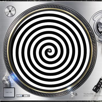 Hypnosis Design2 Optical Illusion 12 inch  Slip mat Turntable Vinyl decor Black and White Record collection DJ audiophile 16 ounce Slipmat x1