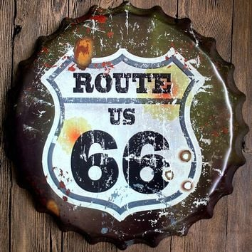 Route 66 Bar Vintage Metal Sign for Home Coffee Bar Decor 35cm