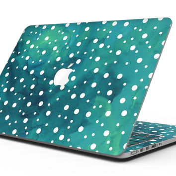 Green and White Watercolor Polka Dots - MacBook Pro with Retina Display Full-Coverage Skin Kit