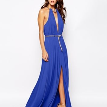 Forever Unique Plunge Neck Maxi Dress with Snake Belt