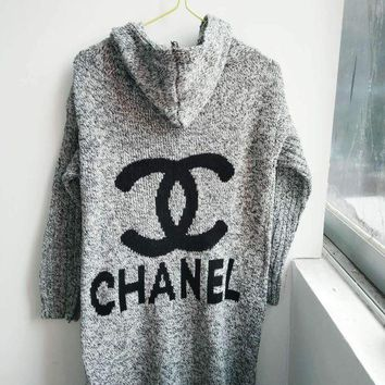 PEAPUF3 Chanel Hooded Sweater Knit Cardigan Jacket Coat Grey