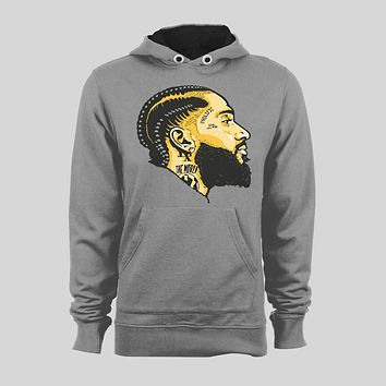 LATE WEST COAST RAPPER NIPSEY HUSTLE OLDSKOOL CUSTOM ART HIP HOP SWEATER / HOODIE