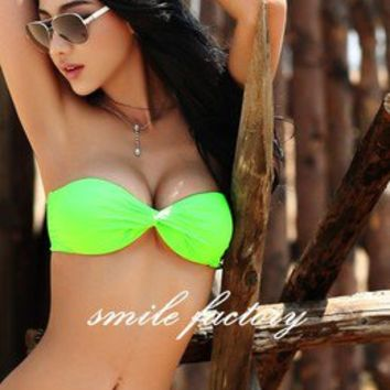 Sexy New Women Sexy Hot Swimwear Split Padded Bikini Swimsuit Fluorescent Green