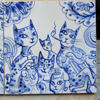 Stoneware Delft Blue Tile/Wall Hanging  -  Family of Cats