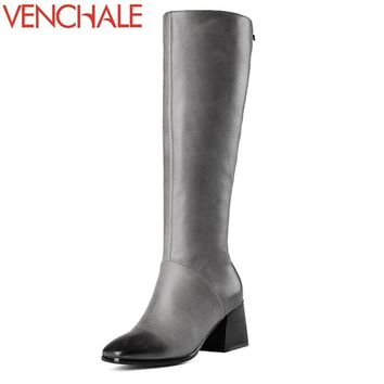 VENCHALE knee-high boots queen etherealize romantic classic genuine leather square toe side zipper modern women boots in winter