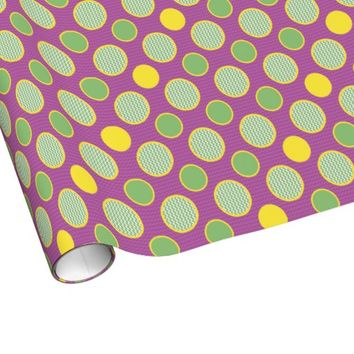 funky time party dots and chevron gift wrap paper