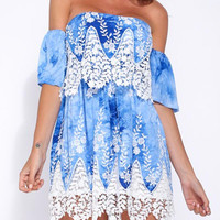 Blue Crochet Panel Mini Dress