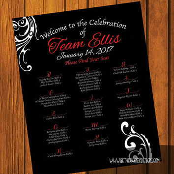 Formal Wedding Seating Sign / Formal Wedding Design / Seating Sign 16x20 / Formal / Red and Black Wedding