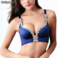 DeRuiLaDy 2016 New Brand Sexy Seamless Palace Ting Lasi Gather No rims Underwear Lace Lingerie Adjustable Super Push Up Bra