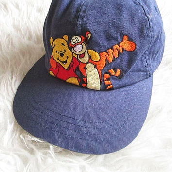 Vintage 90's WINNIE the POOH and Tigger Tiger Walt DISNEY Embroidered Best Friends Elastic Back Hat