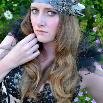 Great Gatsby Flapper Feather Headpiece, Downton Abbey, Beaded Art Deco, 1920s headband headdress vintage 'The One'