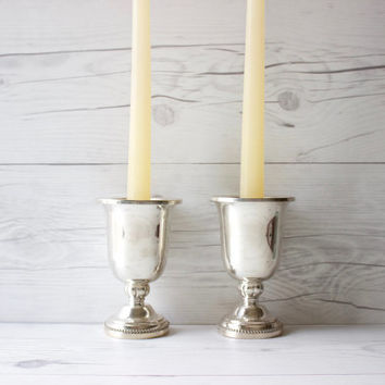Vintage Pair of 2 Silverplated Candle Stick Holders with Removable Top | Wedding Decorations & Centerpieces