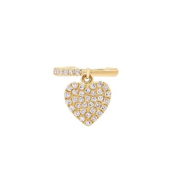 Diamond Heart Dangle Ear Cuff 14K