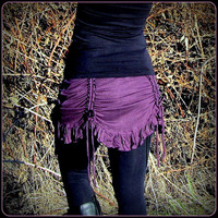 Ruching Ruched Mini Skirt ~ Belly Dance Skirt with Drawstring Detail ~ Victorian Cinch Curtain Drape ~ Adorable for Hula Hooping, Yoga.