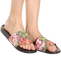 Gucci Casual Fashion Women Floral Print Sandal Slipper Shoes-10