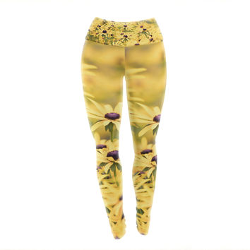 "Debbra Obertanec ""Pantone Yellow"" Flower Daisy Yoga Leggings"