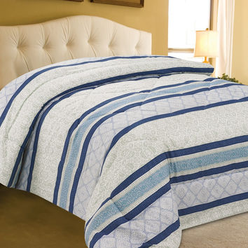 "VIP Treatment Collection King Size Shades of Blue Printed Microfiber Comforter (102"" x 86"")"