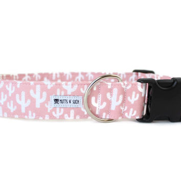 Dog Collar, Girl Dog Collar, Pink Dog Collar, Cactus Dog Collar, Southwest Dog Collar, Succulent (Upgrade to Metal Buckle or Martingale)