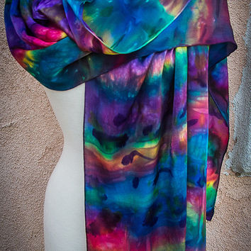 """Hand painted silk satin scarf, 90"""" x 22"""". Treated with with Indian Sugar and Ice"""