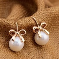 Golden Bow and Pearl Fashion Earrings - LilyFair Jewelry