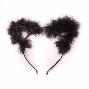 Fluffy Faux Fur Rhinestone Cat Ears