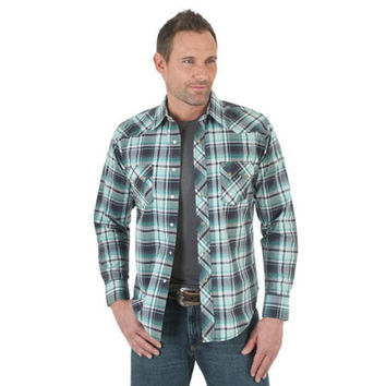 Wrangler Men's Western Jean Long Sleeve Snap Shirt