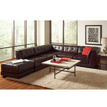 Stacey Leather 6-Piece Modular Sectional Sofa (3 Armless Chairs, 2 Square Corners and Ottoman)