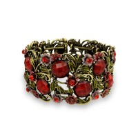 Wide Red Crystal Flower Statement Cuff Bracelet Flexible Gold Plated