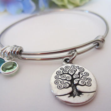 Alex and Ani Inspired Bangle Family Bracelet-Stainless Steel Stackable Wire Bangle Family Tree Charm Bracelet