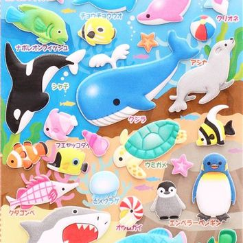 animal aquarium sponge stickers and sticker book from Japan - Animal Stickers - Sticker - Stationery
