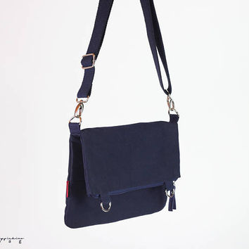 Small Navy Blue Waxed Crossbody Foldover Tote Bag, Dual-Use, Cotton or Leather Strap Selective, Weekender Bag, Zippered Closure, Waterproof