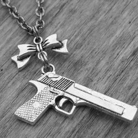 Gun Necklace Gun Jewelry Silver Gun Bow Necklace Bow Jewelry Pistol Necklace Revolver Necklace Punk Rock and Roll Rocker Heavy Metal