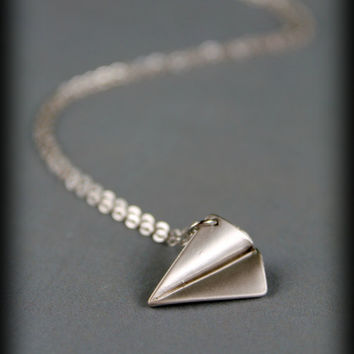 Paper Airplane Necklace in Matte Silver by saffronandsaege on Etsy