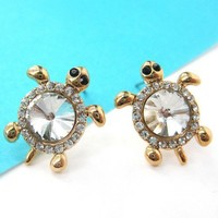 Small Rhinestone Sea Turtle Animal Stud Earrings