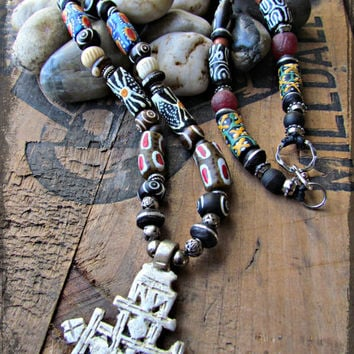 COPTIC CROSS Silver TRIBAL Ethnic Necklace~African recycled glass beads~Krobo beaded Necklace~Eclectic Style~Mdogstudios~