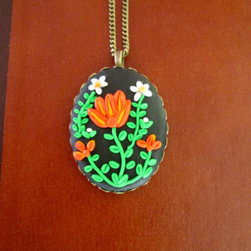 tulip statement necklace,vintage cameo necklace,multicolor,artisan pendant,polymer clay jewelry,ready to ship,floral filigree necklace,gift