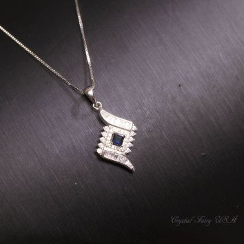Blue Sapphire Necklace, Sterling Silver Blue Sapphire Tiny Diamond Cubic Zirconia Necklace, High Quality Dainty CZ Necklace