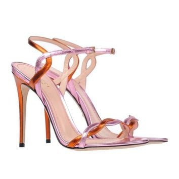 Gucci NEW & SOLD OUT Pink Orange Metallic Strappy Evening Sandals Heels in Box