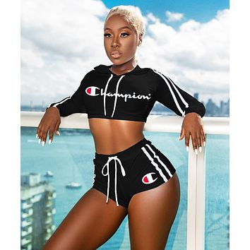 Champion Fashion New Letter Print Hooded Sports Leisure Long Sleeve Top And Shorts Two Piece Suit Black
