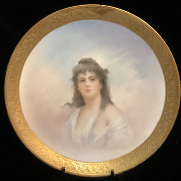 Bawo & Dotter Elite Porcelain Antique Portrait Plate Trimmed in Gold