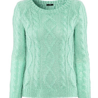 Mint color trendy sweater-1203050273