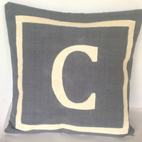 Grey Personalized Monogram pillow cover, Customized letter cushion 18x18, Grey Home Decor