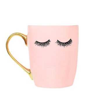 Pink Eyelashes Coffee Mug with Metallic Gold Handle