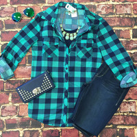 Penny Plaid Flannel Top: Green/Navy