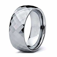 Mens Carbide Tungsten Wedding Ring Domed Faceted - 8mm