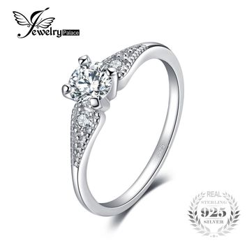 JewelryPalace Wedding 0.7 Cubic Zirconia 3 Stone Engagement Ring For Women Real 925 Sterling Silver Engagement Ring Jewelry