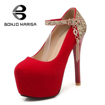 BONJOMARISA Big size 34-42 Bling Mary Janes Style Metallic Chains Party Wedding Shoes Round Toe High Heels Platform Women Pumps