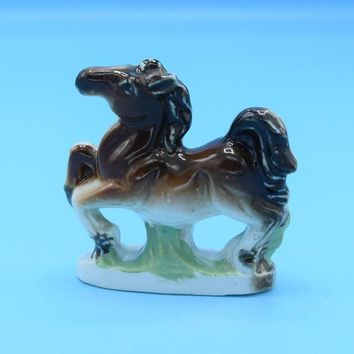 Ceramic Miniature Horse Figurine Vintage Japan Porcelain Mini Horse Figure Shadowbox Decor Vanity Dresser Decor Free Shipping