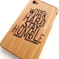 Work Hard Stay Humble - Bamboo iPhone 4/4S Case